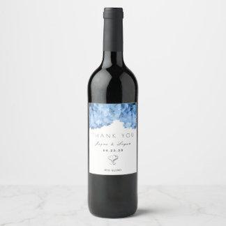Etiqueta pessoal floral azul do vinho do casamento