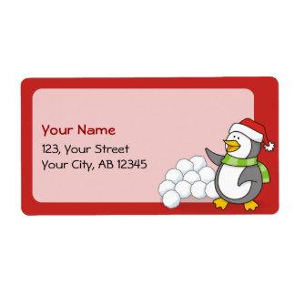 Etiqueta Pinguim do Natal com ondulação das bolas da neve