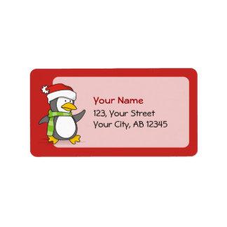 Etiqueta Pinguim do Natal que anda na neve