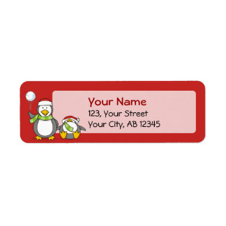Etiqueta Pinguins Snowballing do Natal