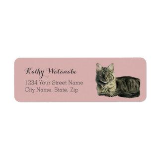 Etiqueta Pintura média doméstica da aguarela do gato do
