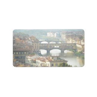 Etiqueta Ponte velha Florença Italia de Ponte Vecchio