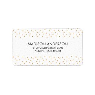 Etiqueta Pontos modernos elegantes dos confetes do branco e