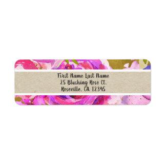Etiqueta Pop do chique floral na moda moderno do ouro roxo