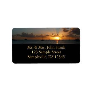 Etiqueta Por do sol com a foto tropical da paisagem dos
