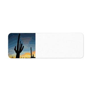 Etiqueta Por do sol do sudoeste do cacto do Saguaro da