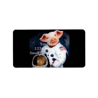 Etiqueta Porco do astronauta - astronauta do espaço