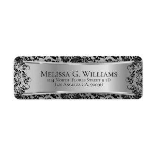 Etiqueta Prata bonita e damascos & laço pretos