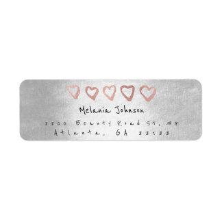 Etiqueta Prata de prata dos corações do ouro do rosa do