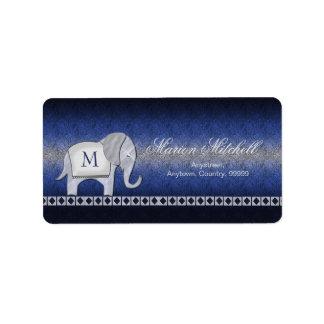 Etiqueta Prata do monograma da caminhada do elefante/ID390