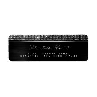 Etiqueta Prata luxuosa branca preta Sparkly RSVP metálica