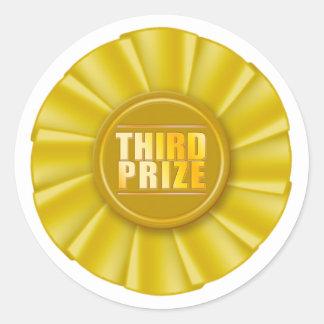 etiqueta premiada do rosette amarelo terceira