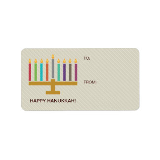 Etiqueta Presente colorido de Menorah Hanukkah