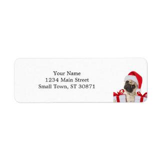 Etiqueta Presentes do Pug - cão claus - pugs engraçados -