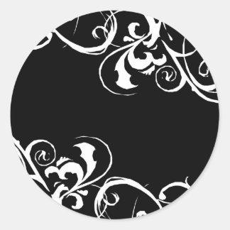 Etiqueta preta branca adesivo em formato redondo