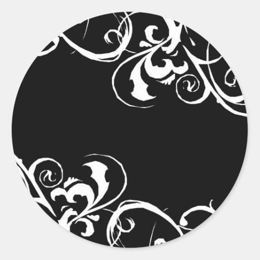 Etiqueta preta & branca adesivo redondo