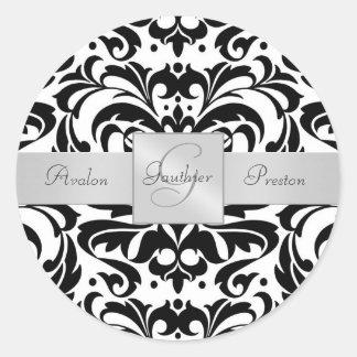 Etiqueta preta & branca do casamento do monograma adesivo