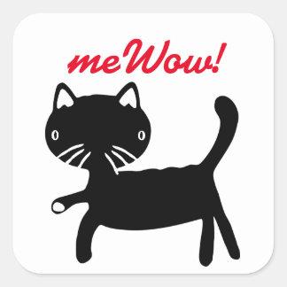 Etiqueta preta & branca do meWOW do gato boa do