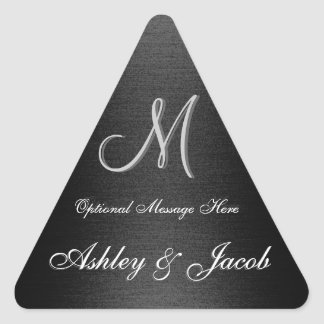 Etiqueta preta & branca Monogrammed elegante do Adesivo Triangular