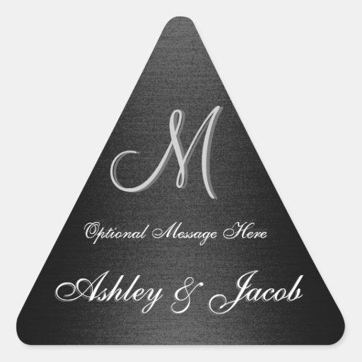 Etiqueta preta & branca Monogrammed elegante do ca Adesivo Triângulo
