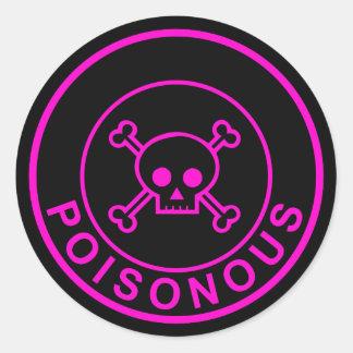 Etiqueta preta cor-de-rosa venenosa do crânio do