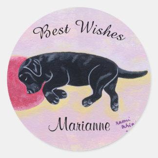 Etiqueta preta da pintura do sono de Labrador