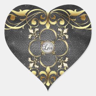 Etiqueta preta do amor do vitral do coração do adesivos em forma de corações