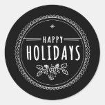 Etiqueta preta redonda do Natal do feriado feliz Adesivos Em Formato Redondos