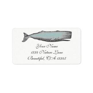 Etiqueta Preto da baleia do Victorian do vintage, endereço