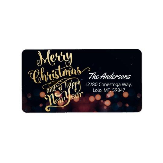 Etiqueta Preto & de Natal & de feliz ano novo do ouro