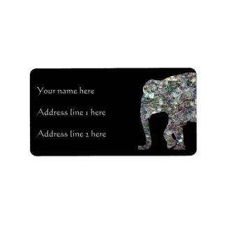 Etiqueta Preto de prata colorido Sparkly do elefante | do