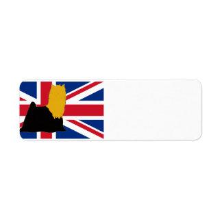 Etiqueta preto do yorkie e silo do ouro na bandeira