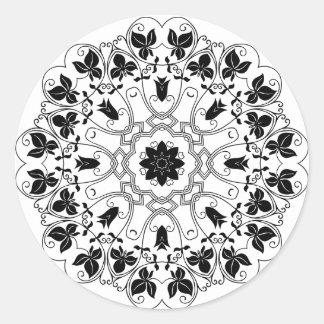Etiqueta preto e branco da mandala do vintage adesivo