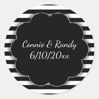 Etiqueta preto e branco do casamento da listra adesivo