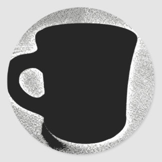 Etiqueta preto e branco do copo de café adesivo redondo