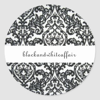 Etiqueta preto e branco do damasco adesivo