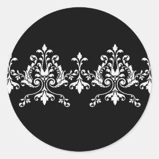 Etiqueta preto e branco do damasco adesivos