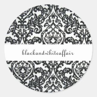 Etiqueta preto e branco do damasco adesivo em formato redondo