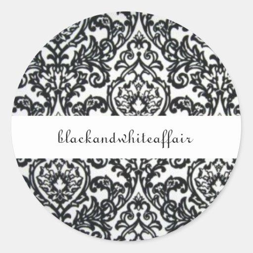Etiqueta preto e branco do damasco adesivo redondo