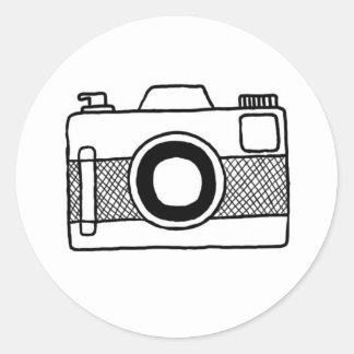 Etiqueta preto e branco do doodle da câmera
