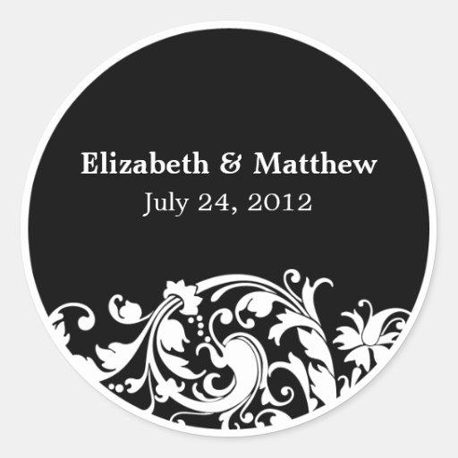 Etiqueta preto e branco do favor do casamento do adesivos em formato redondos