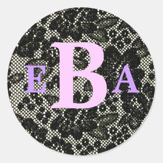 Etiqueta preto e branco Monogrammed Adesivo