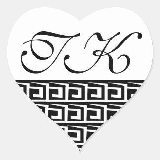 Etiqueta preto e branco Monogrammed Adesivo Coração