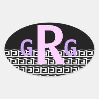 Etiqueta preto e branco Monogrammed Adesivo Oval