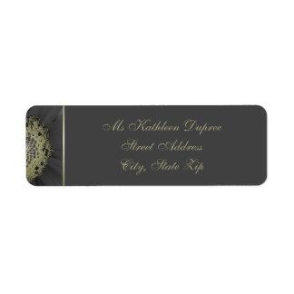 Etiqueta Preto e monograma da margarida do ouro