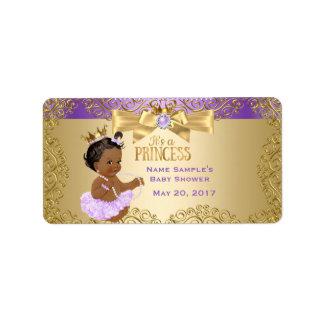 Etiqueta Princesa chá de fraldas da bailarina do ouro do