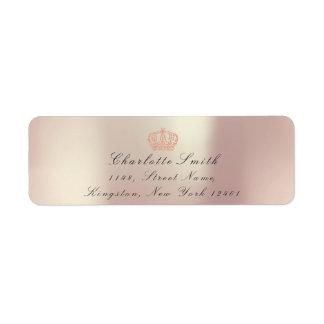 Etiqueta Princesa de coroa cor-de-rosa perolado do brilho
