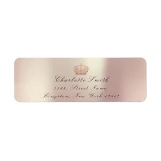 Etiqueta Princesa de coroa do brilho RSVP do rosa do cobre