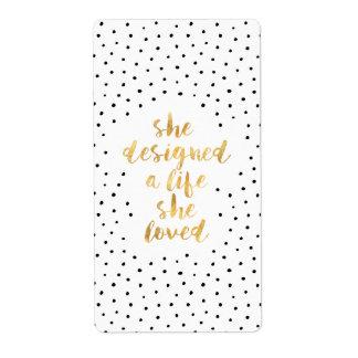 Etiqueta Projetou uma vida onde amou com folha de ouro do