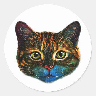 Etiqueta psicadélico da arte do gato
